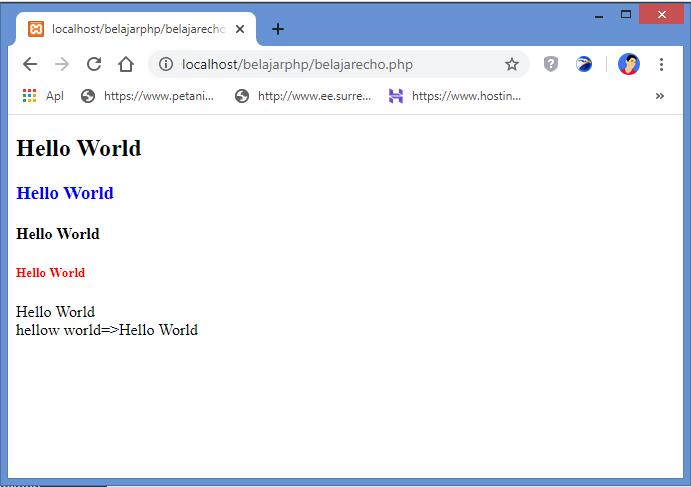 hasil menampilkan text dengan fungsi echo di php