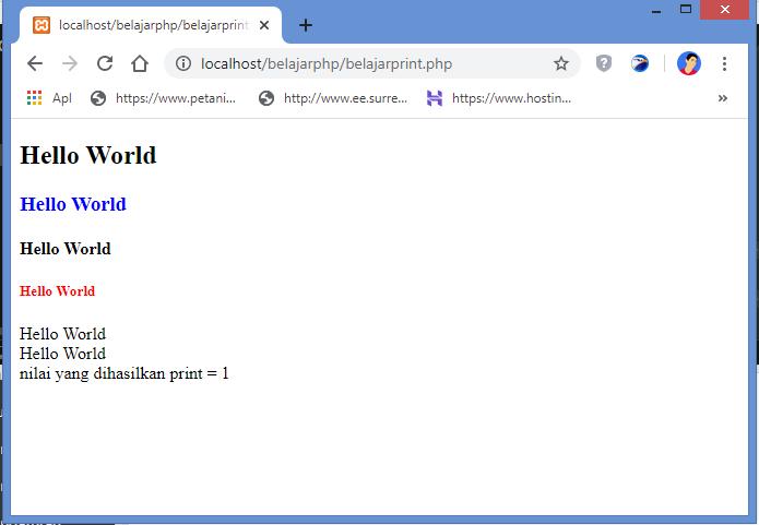 hasil menampilkan text dengan fungsi print di php