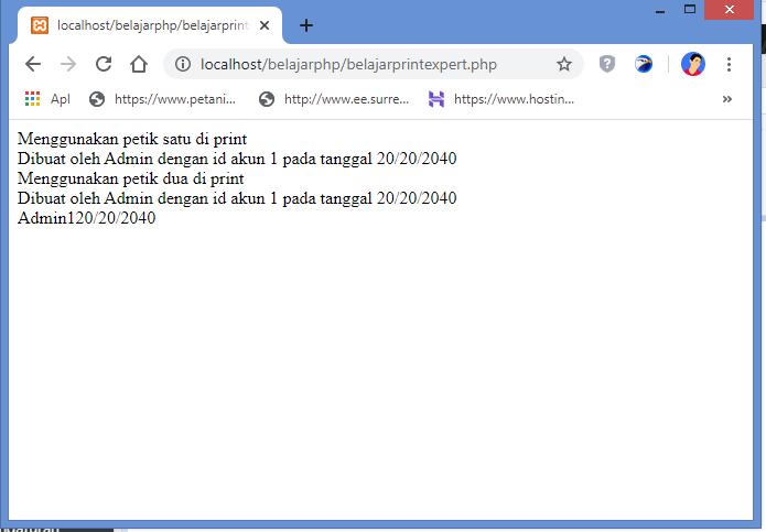 hasil menampilkan text dan variabel dengan fungsi print di php