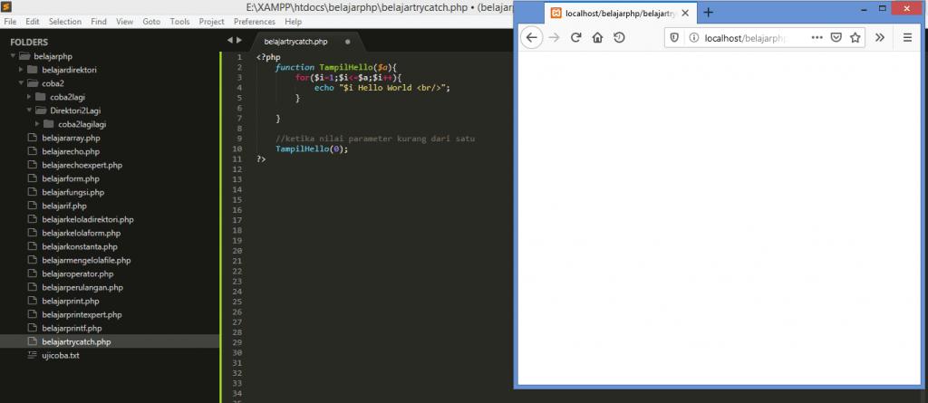 Gambar contoh error ketika nilai parameter tidak sesuai