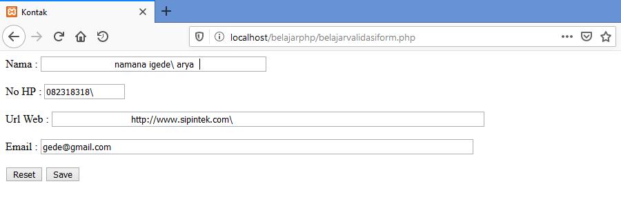 Gambar Contoh input salah pada form di php