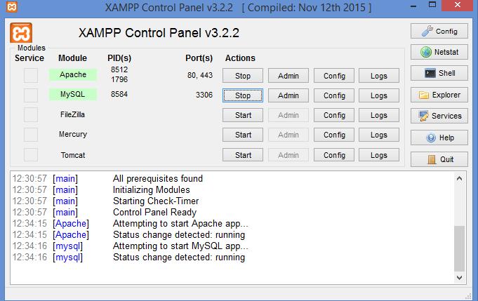 Gambar menghidupkan apache dan MySQL di XAMPP