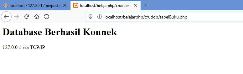 Gambar Hasil ketika koneksi database berhasil menggunakan fungsi mysqli_connect di php