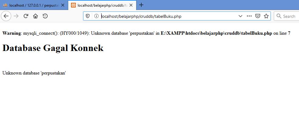 Gambar hasil ketika koneksi database error menggunakan fungsi mysqli_connect di php