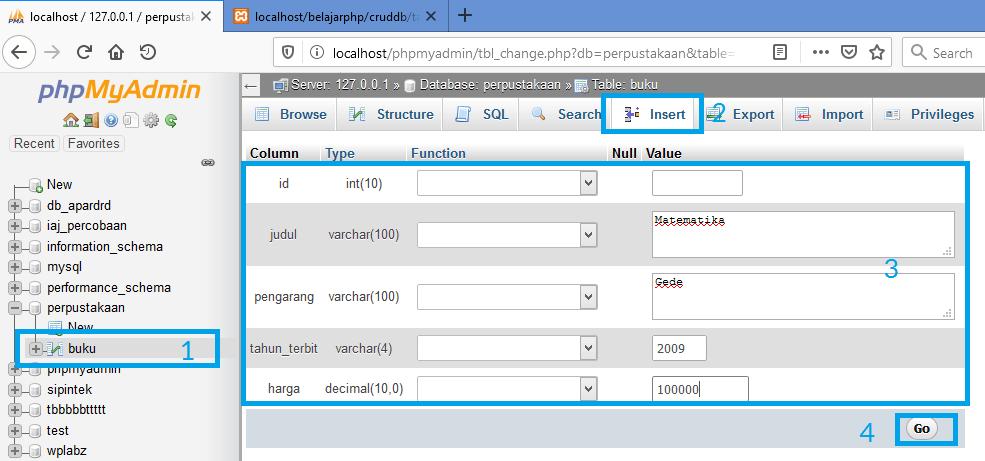 Gambar langkah-langkah menambahkan data ke tabel mysql melalui phpmyadmin