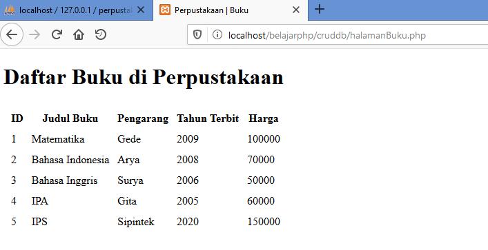 Gambar hasil menampilkan isi tabel database mysql di web php