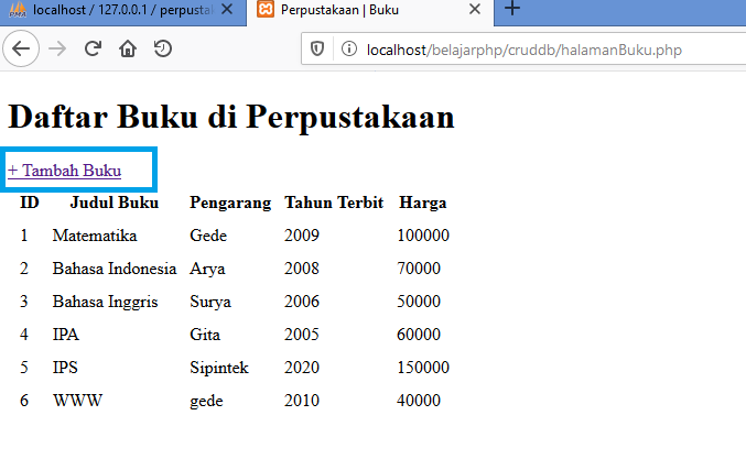 Gambar tambah data _ Link untuk membuka form tambah data