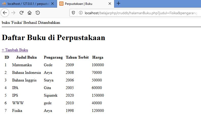 Gambar tambah data _ hasil ketika data berhasil ditambahkan ke tabel