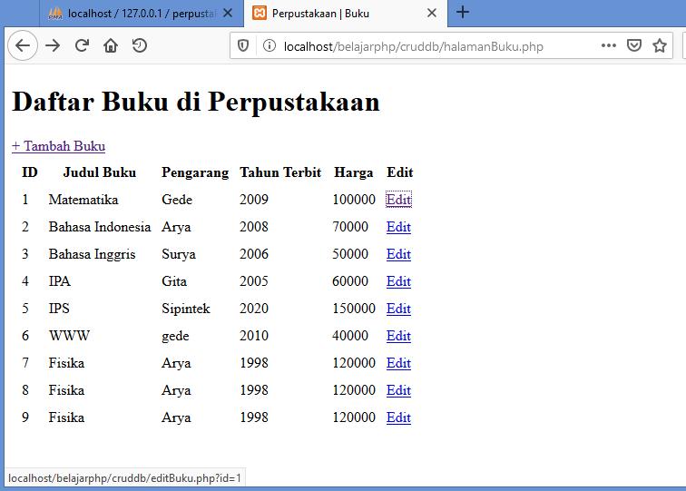 Gambar edit data - link untuk membuka form untuk mengubah data