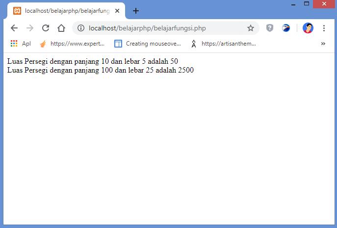 hasil fungsi berparameter di php