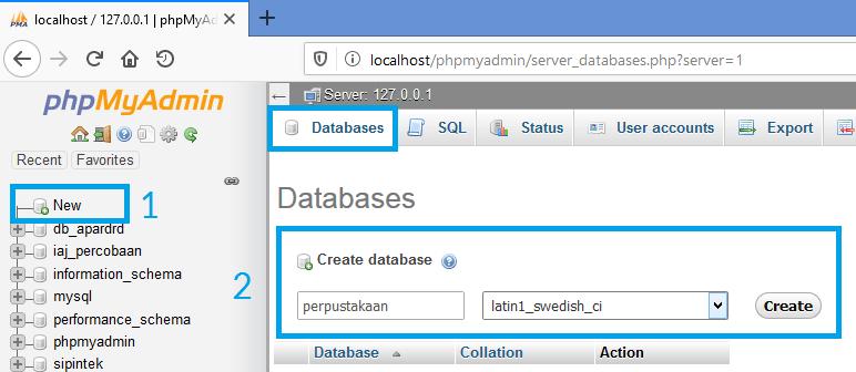 Gambar membuat database baru melalui phpmyadmin