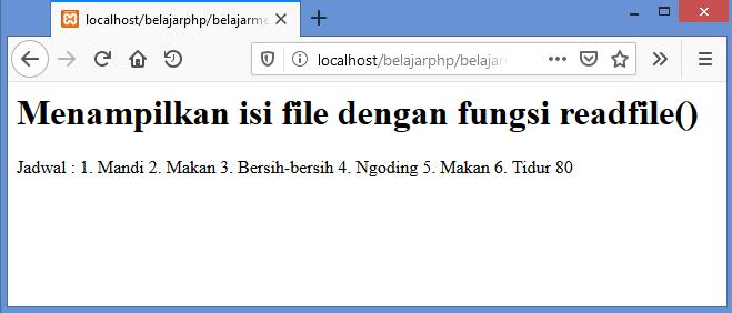 Gambar hasil menampilkan semua isi file dengan fungsi readfile