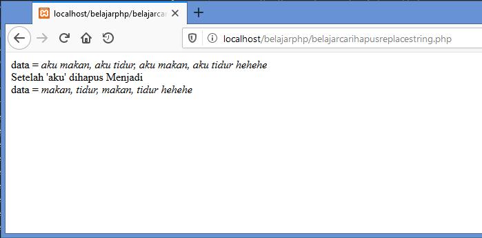 Gambar hasil menghapus kata dengan fungsi preg_replace di php