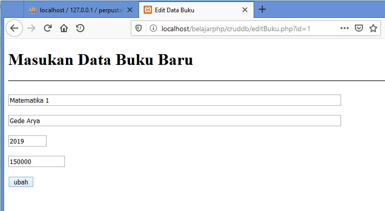 Gambar percobaan merubah data menggunakan form yang sudah dibuat di php