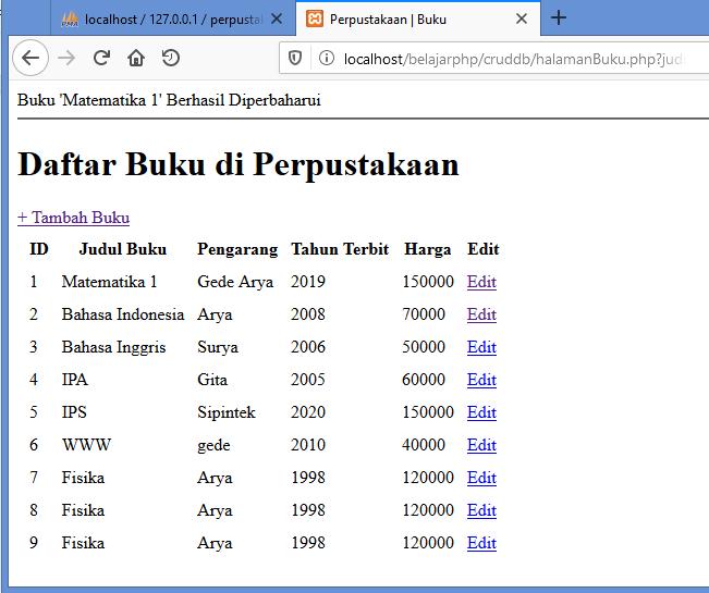 Gambar hasil dari merubah data dalam database dengan web php yang telah dibuat