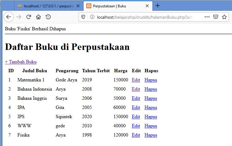 Gambar percobaan menghapus data dalam database melalui web php yang dibuat