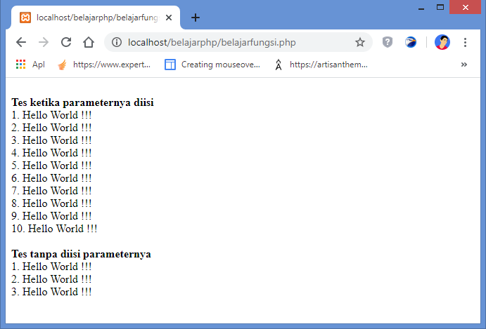 hasil fungsi dengan parameter bernilai default di php