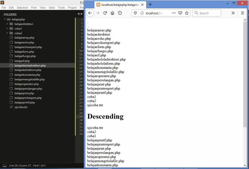 Gambar hasil menampilkan direktori dengan scandir dan foreach di php