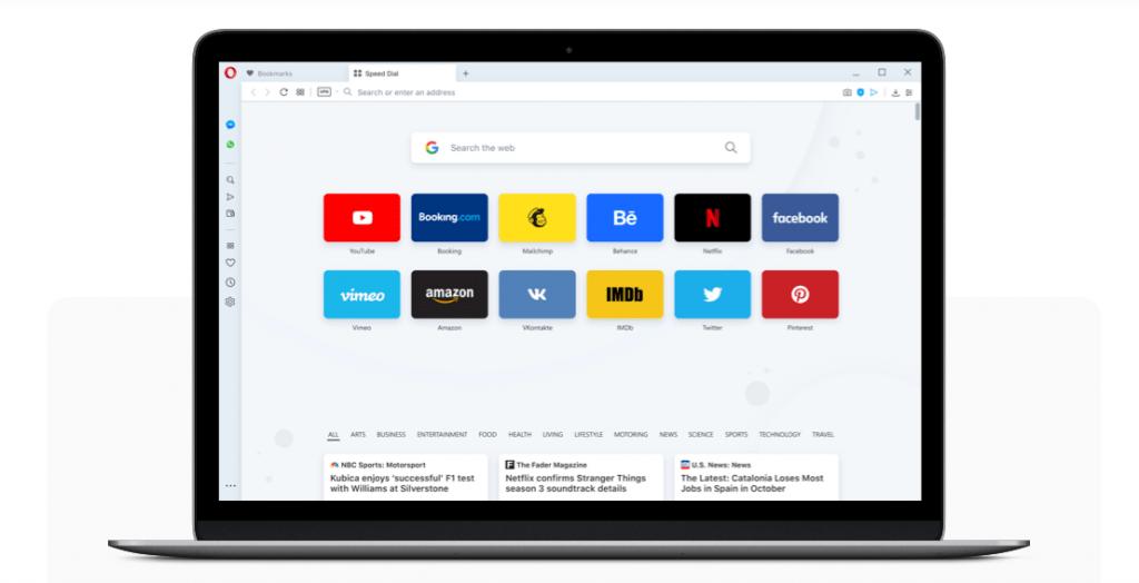 Tampilan browser Opera