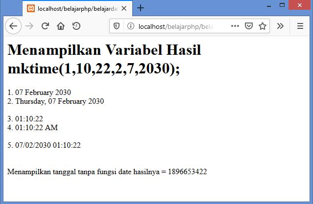 Gambar Hasil menampilkan variabel bernilai date and time