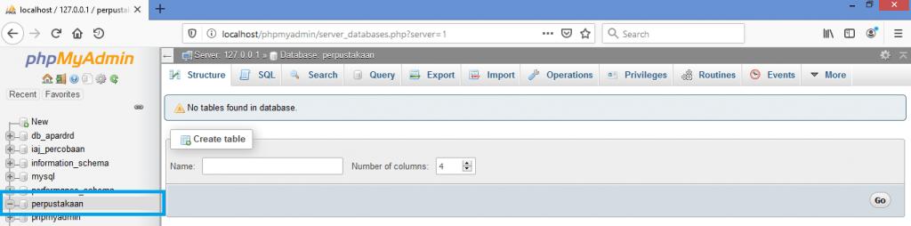 Gambar ketika berhasil membuat database baru melalui phpmyadmin