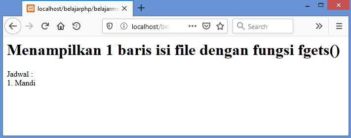Gambar hasil menampilkan satu baris isi file dengan fungsi fgets