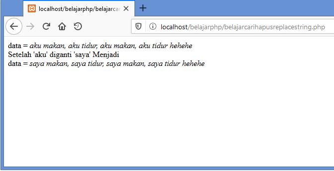 Gambar hasil replace kata dengan fungsi preg_replace di php