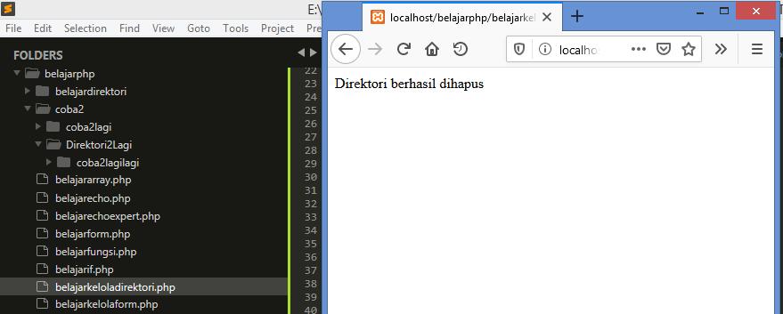 Gambar hasil direktori setelah di hapus dengan fungsi rmdir di php