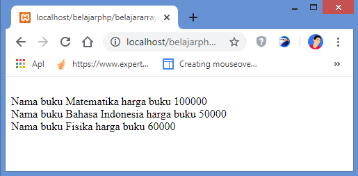 hasil contoh array multi dimensi gabungan indexed dan associative