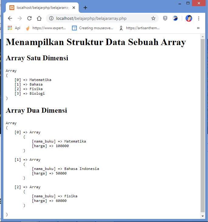 Menampilkan Struktur Data Sebuah Array dengan fungsi print_r di PHP