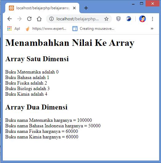 hasil menambahkan nilai ke array