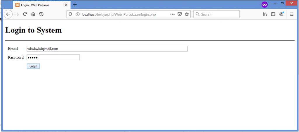 Gambar test input data yang salah di form login php