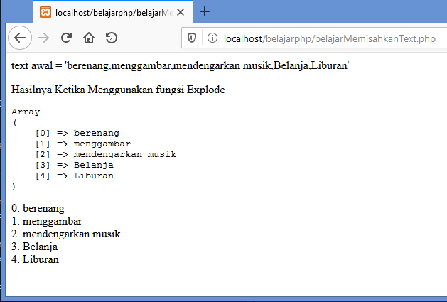 Gambar hasil memisahkan string atau text dengan fungsi explode di php