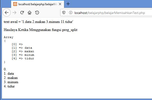 Gambar hasil memisahkan string atau text dengan fungsi preg_split di php