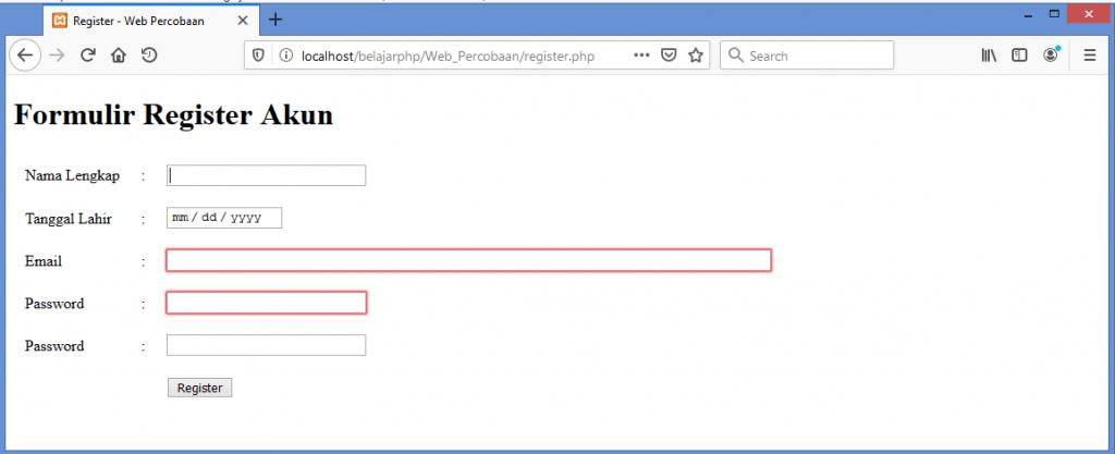 Gambar hasil test akses halaman form register