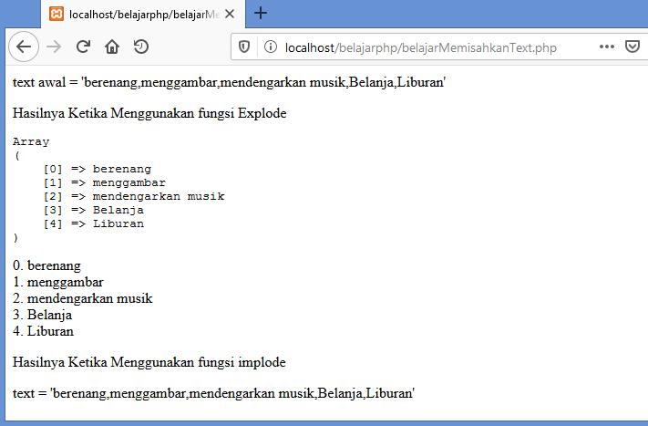 Gambar hasil menggabungkan kembali text yang dipisahkan dengan implode di php