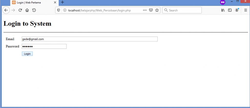 Gambar ketika input data yang benar ke form login
