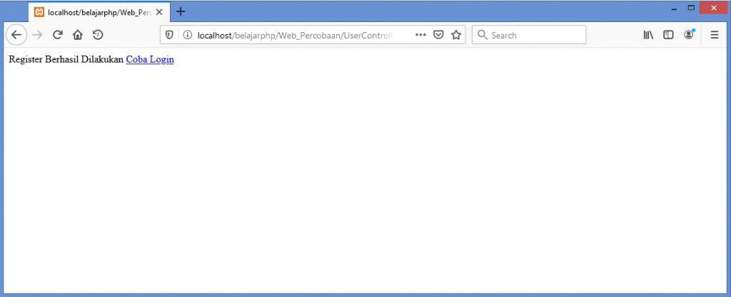Gambar hasil test register user baru dengan data yang valid