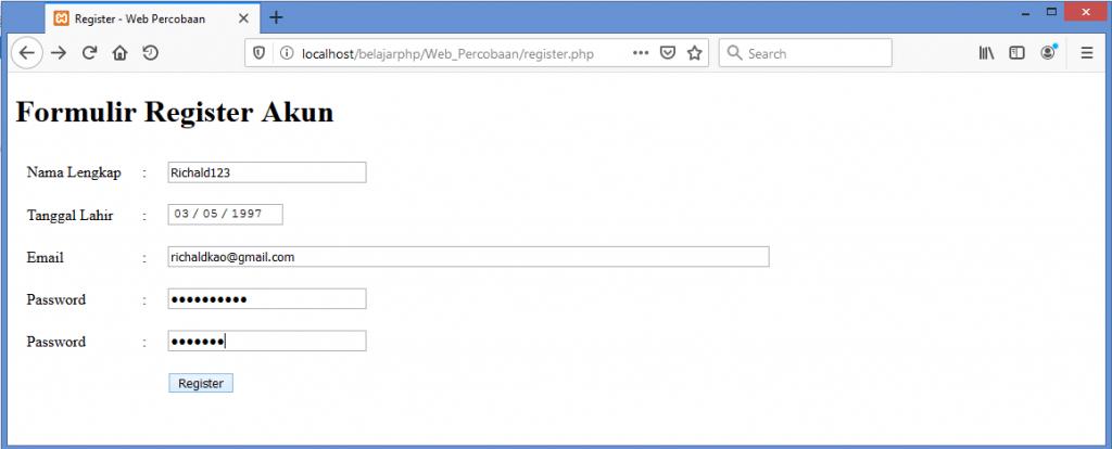 Gambar testing validasi data dengan input data yang salah pada form register user