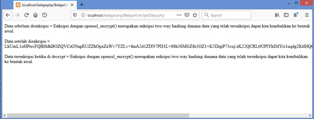 Gambar hasil menggunakan fungsi enkripsi openssl di PHP