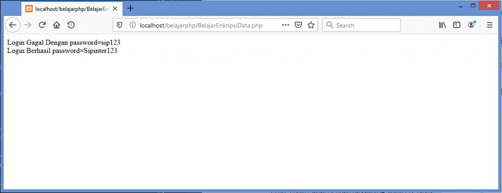Gambar hasil menggunakan fungsi password_hash dan password_verify pada password di php