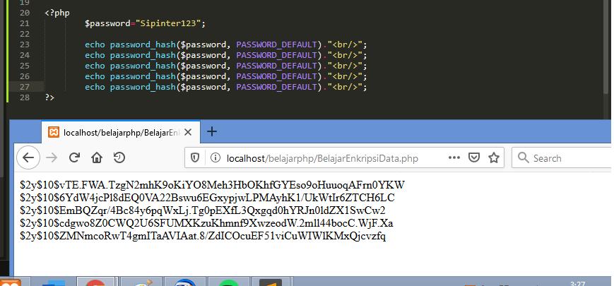 Gambar hasil menggunakan fungsi password_hash pada data yang sama di php