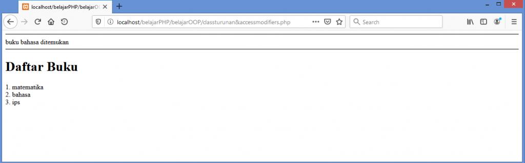 Gambar Hasil dari Membuat Class Turunan di PHP
