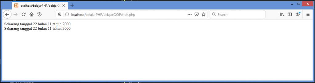 Gambar hasil contoh cara membuat dan menggunakan trait di php