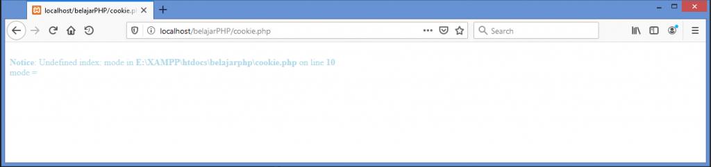Gambar hasil dimana ketika cookie baru dibuat di php