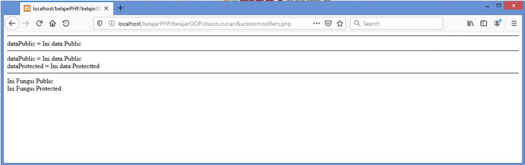 Gambar hasil membatasi hak akses method dan property dengan access modifier