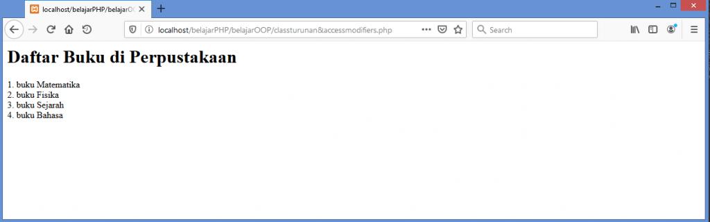 Gambar hasil menimpa method pada class induk dari class turuan di PHP