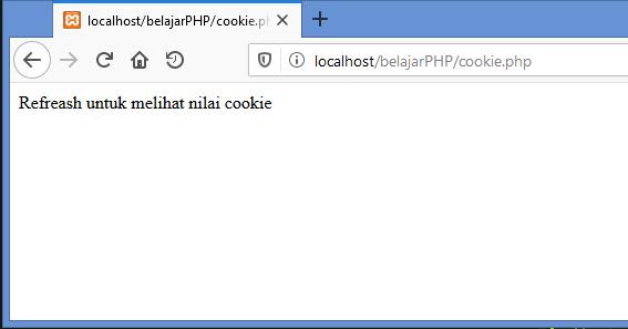 Gambar hasil membuat cookie dalam bentuk array di php ketika pertama kali diakses