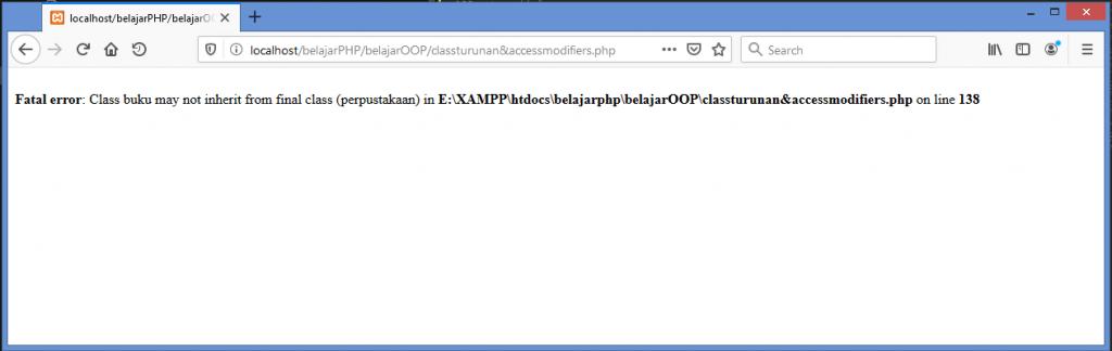 Gambar hasil error jika menurunkan class dengan access modifier final