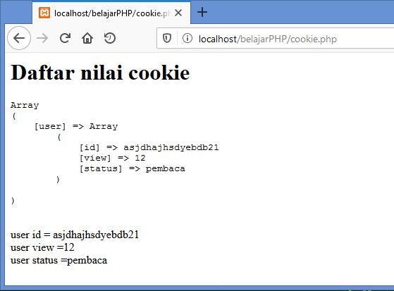 Gambar hasil membuat cookie dalam bentuk array di php ketika sudah direfreash
